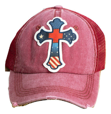 USA Cross Hat Patriotic American Flag Vented Cap Red Blue
