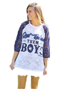 Southern Grace God Bless Them Boys Lace Sleeve Burnout Shirt Top Navy Blue White
