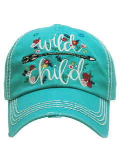 "Arrow Hippy ""Wild Child"" Flower Adjustable Washed Cap Hat Turquoise Blue, Black Or Beige"
