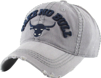 KB Adjustable Take No Bull Cowboy Steer Mens Cap Hat Gray Navy Blue