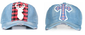 Southern Junkie Adjustable Distressed Hat Cap Red Plaid Denim Blue Cross r Deer