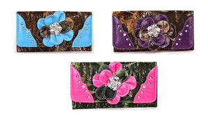 Western Camo Rhinestone Flower Trifold Wallet Pink Purple or Blue