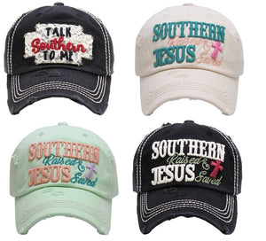 Adjustable Distressed Vintage Western Cap Hat Talk Southern to Me or Southern Raised Jesus Saved