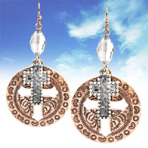 "2.3"" Copper Silver Aztec Cross Western Bling Earrings"