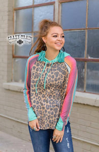 Crazy Train Leopard Cheetah Serape Aztec Western Lightweight Jacket Hoodie Shirt Coat