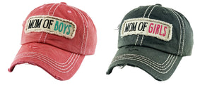 Mom of Boys or Girls Hat Distressed Womens Baseball Cap Black Pink