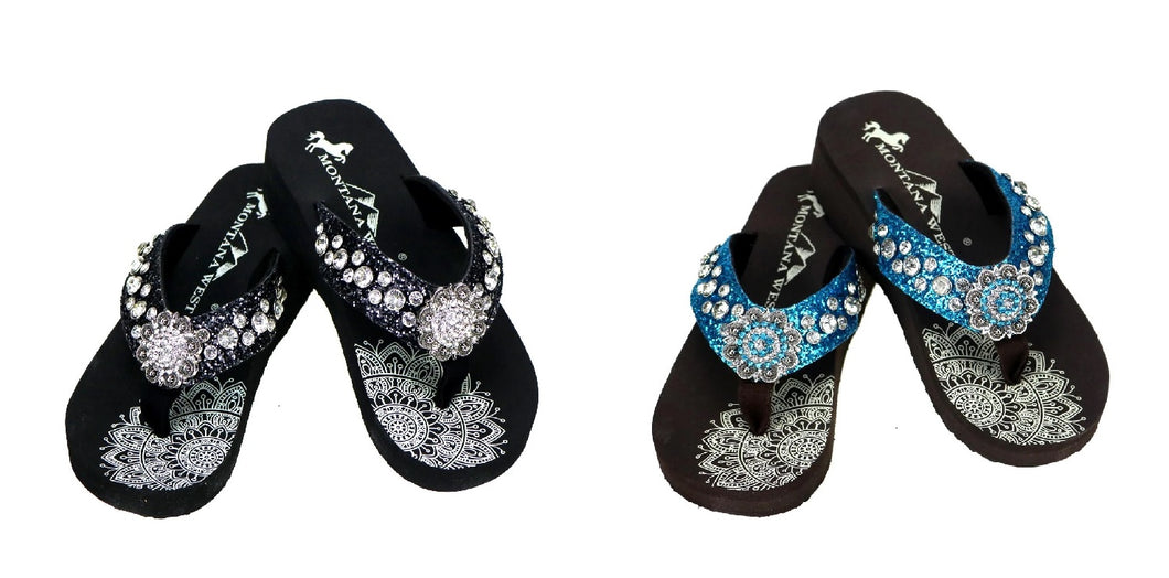 Montana West Womens Flip Flops Bling Glitter Rhinestone Concho Wedge Sandals Blue or Black