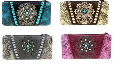 Montana West Womens Western Aztec Vintage Turquoise Flower Floral Wallet