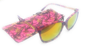 Camo Camouflage Womens Western Sunglasses + Drawstring Case Pink Purple or Blue