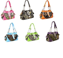 Western Camo Rhinestone Buckle Shoulder Bag Purse Blue Pink Purple Brown Green or Orange