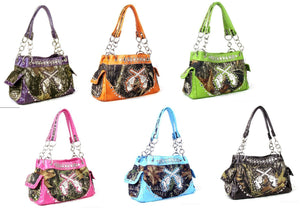 Western Camo Rhinestone Gun Pistol Shoulder Bag Purse Blue Pink Purple Brown Green or Orange