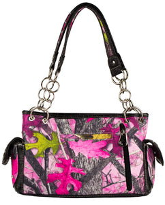 Sassy B Camo Rhinestone Buckle Concealed Carry Purse Shoulder Bag Handbag Pink Black