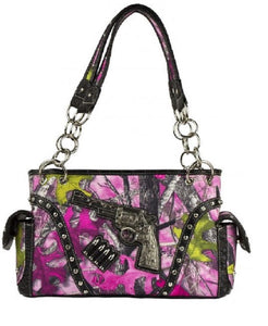 Sassy B Camo Gun Pistol Revolver Bullets Concealed Carry Purse Shoulder Bag Handbag Pink Black