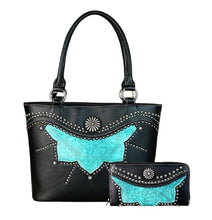 American Bling Montana West Concealed Carry Black Turquoise Purse Wallet Set