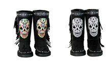 Montana West Rhinestone Fringe Sugar Skull Day Of The Dead Winter Boots Gothic Biker Black