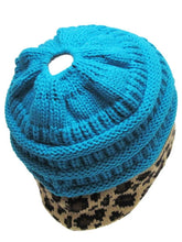 Soft Stretch Knit Bun Ponytail Beanie Tobaggon Hat Cheetah Leopard Pink Blue