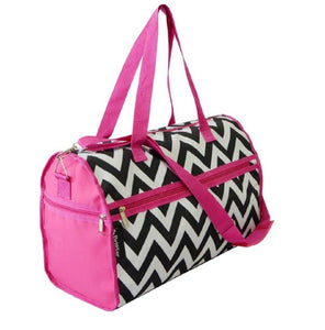 "19"" Duffel Travel Luggage School Gym Camp Dance Bag Tote Pink Zebra Chevron Cheetah Camo Polks Dot"