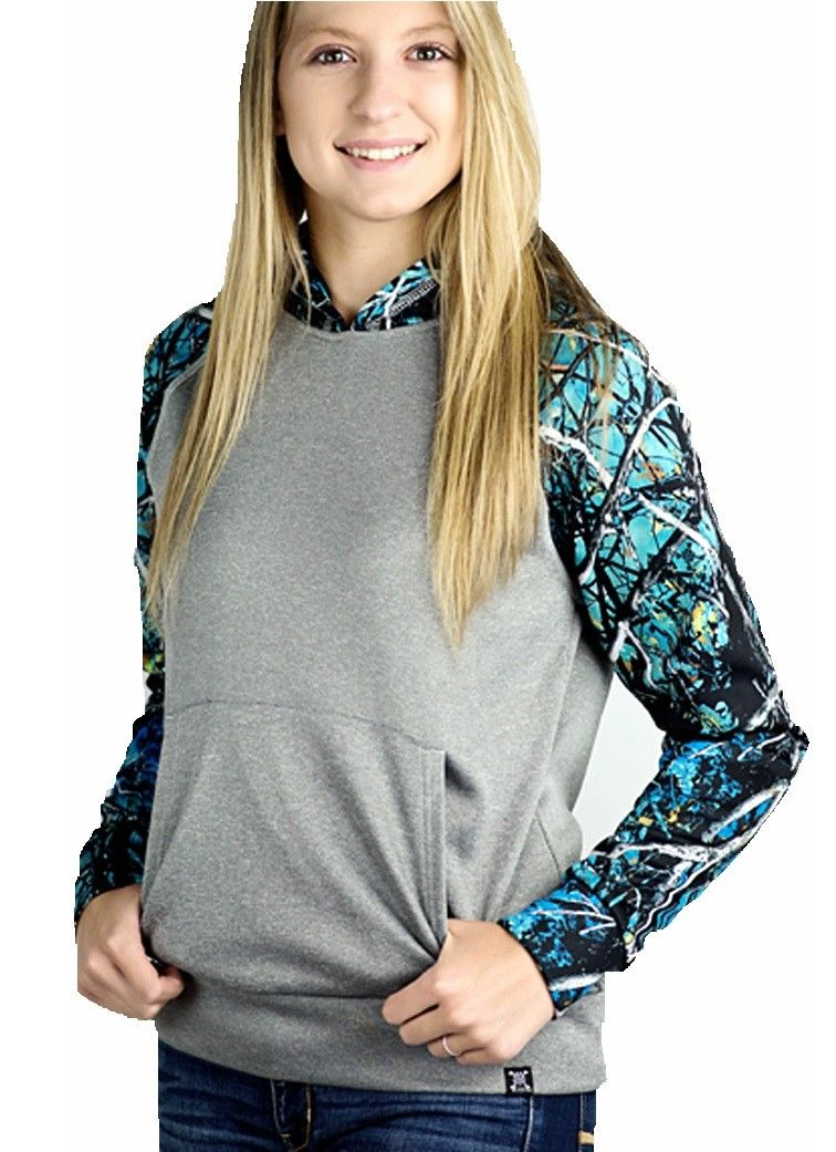 Muddy Girl Serenity Camo Raglan Pocket Hoodie Pullover Jacket Gray Turquoise Blue