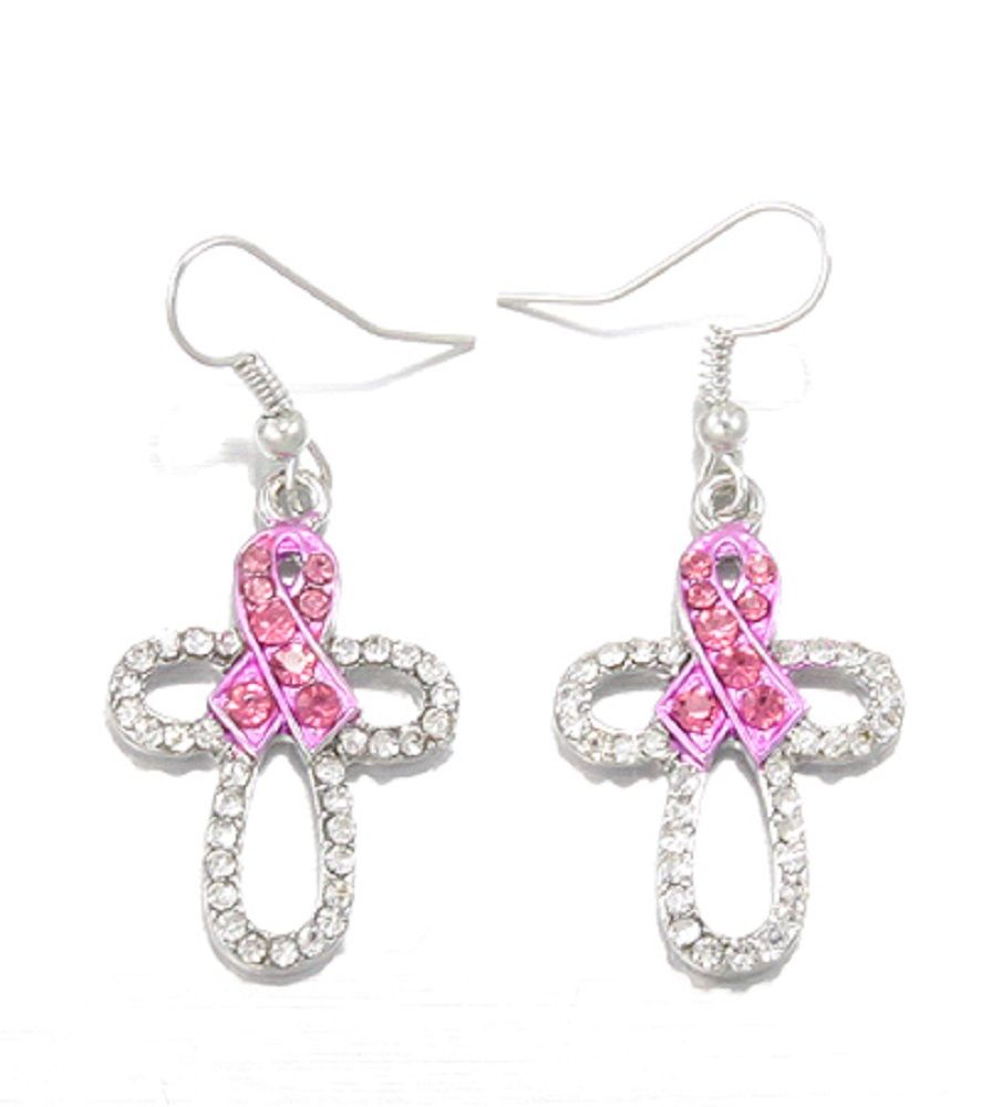 Rhinestone Pink Ribbon Breast Cancer Western Cross Earrings