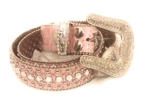 Womens Girls Western Leather Rhinestone Buckle Belt Pink