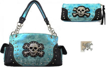 Blue Concealed Carry Handgun Rhinestone Skull Purse Shoulder Bag Wallet Earrings Set