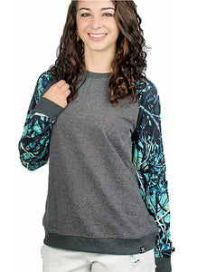 Muddy Girl Serenity Camo Sweatshirt Long Sleeve Woman Western Top Turquoise Blue