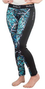 Muddy Girl Serenity Camo Black Leggings Workout Yoga Pants Turquoise & Blue