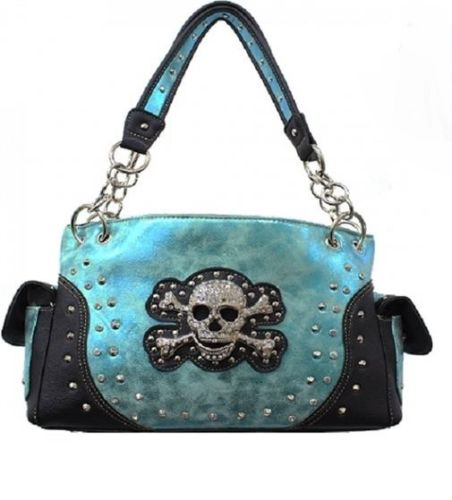 Blue Concealed Carry Handgun Rhinestone Skull Purse Shoulder Bag