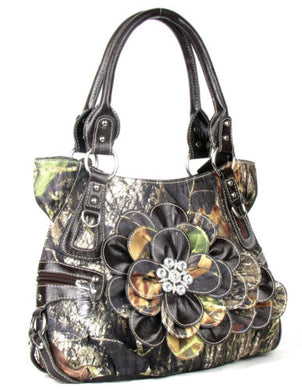 Western Camo Rhinestone Flower Shoulder Bag Purse Brown or Purple