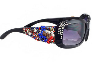 XLoop Beaded Bling Rhinestone Western  Ladies Sunglasses Texas State