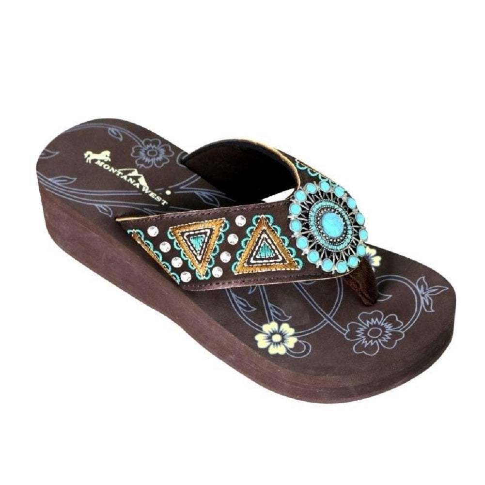 Montana West Embroidered Aztec Hippy Tribal Turquoise Concho Western Flip Flops Brown