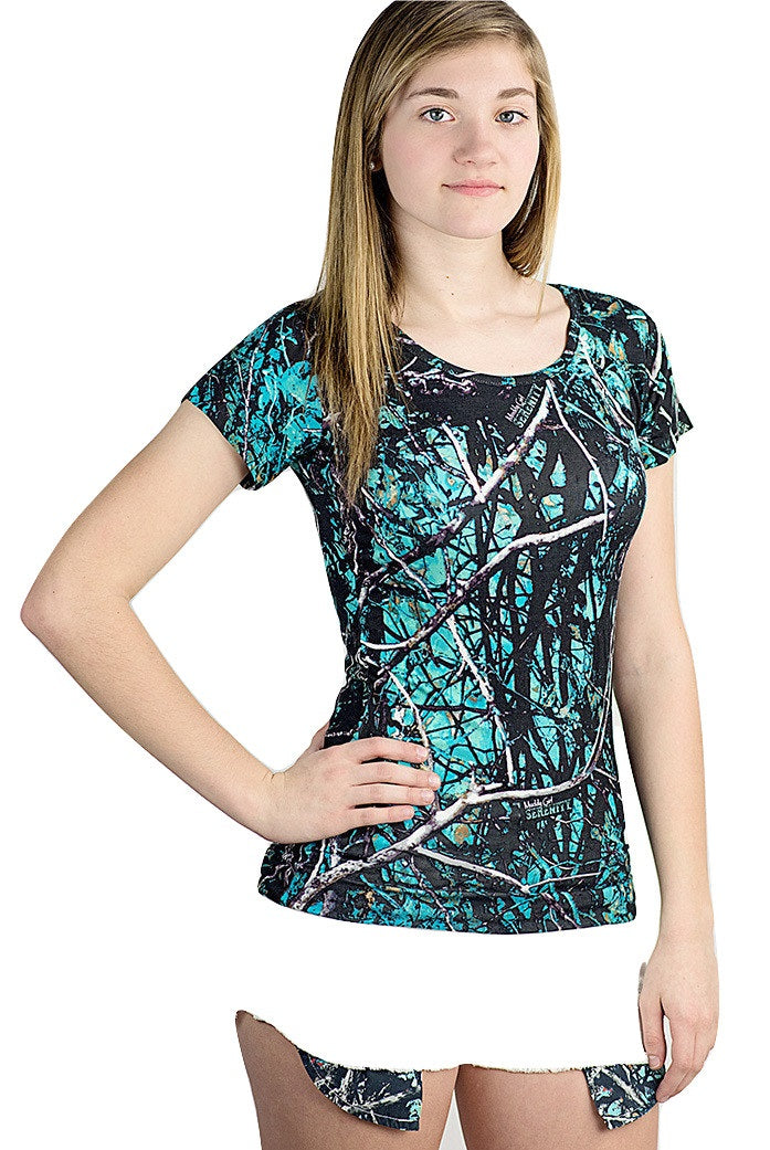 Muddy Girl Serenity Full Camo Western Short Sleeve Top Shirt Turquoise & Blue