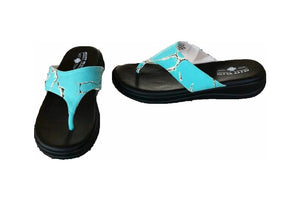Crazy Train Flip Flops Taos Womens Sandals Western Shoes Turquoise Blue Stone