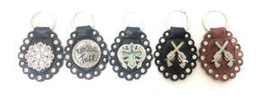 Western Rhinestone Bling Key Rings Purse Charms Gun Concho Cross Cowgirl Tuff