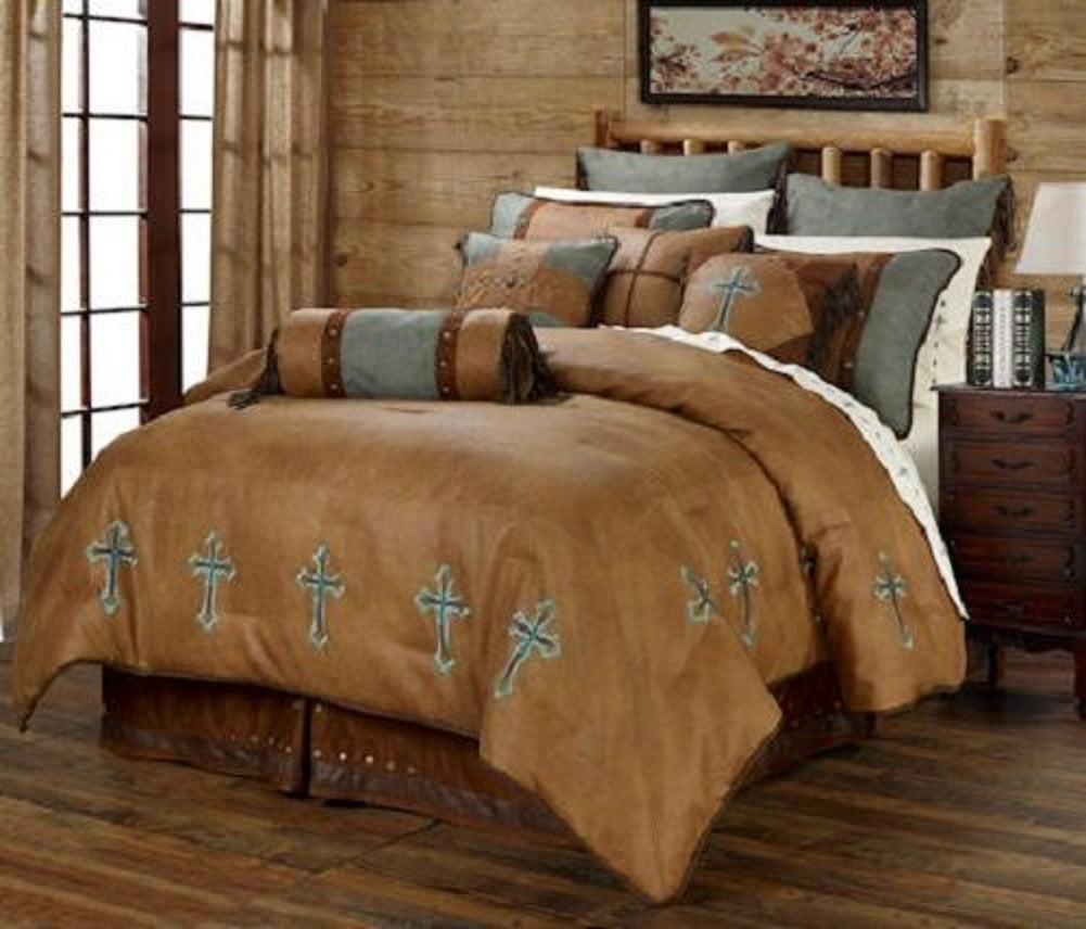 Western Cabin Country Rustic Bedding Decor Comforter Set Brown Turquoise Cross Sheet Option