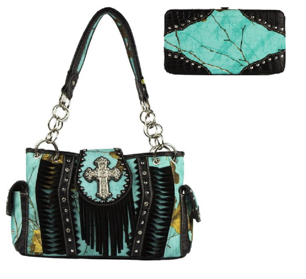 60b8a20b41a Realtree Sea Glass Camo Cross Concealed Carry Purse Shoulder Bag Wallet Set  Turquoise Blue Black