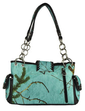 Realtree Sea Glass Camo Cross Concealed Carry Purse Shoulder Bag Wallet Set Turquoise Blue Black