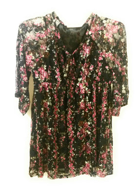 Lady Noiz Lined Lace Flower Sleeve Tunic Shirt Top Black Mauve Pink