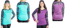 Moon Shine Camo Western Long Sleeve Top Shirt in Blue Serenity or Purple Pink Muddy Girl