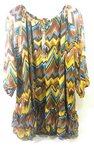 Lady Noiz Aztec Ruffle Short Sleeve Tunic Shirt Top Blouse Brown Turquoise Yellow