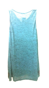Sleeveless Dress Tunic Shirt Aztec Feather Beaded Necklace Turquoise Teal Blue