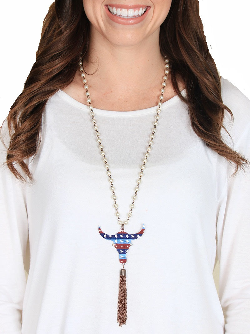 Longhorn Steer Skull American July 4 Memorial Patriotic USA Stars Necklace Red White Blue