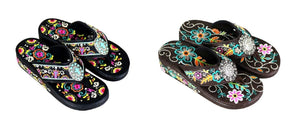 Montana West Flip Flops Sandals Black Turquoise Cross or Brown Rhinestone Concho