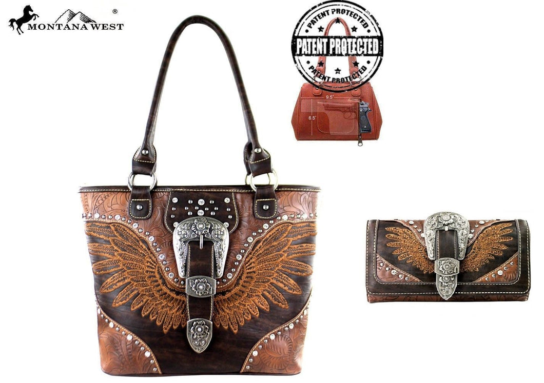 Montana West Rhinestone Buckle Wings Concealed Carry Purse Shoulder Bag Wallet Set Brown