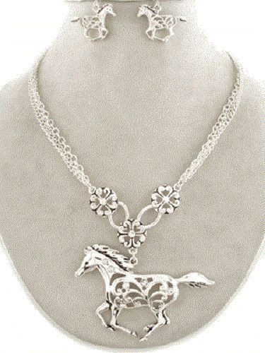 Western Cowgirl Jewelry Bling Rhinestone Horse Necklace Matching Earrings Set Silver Tone