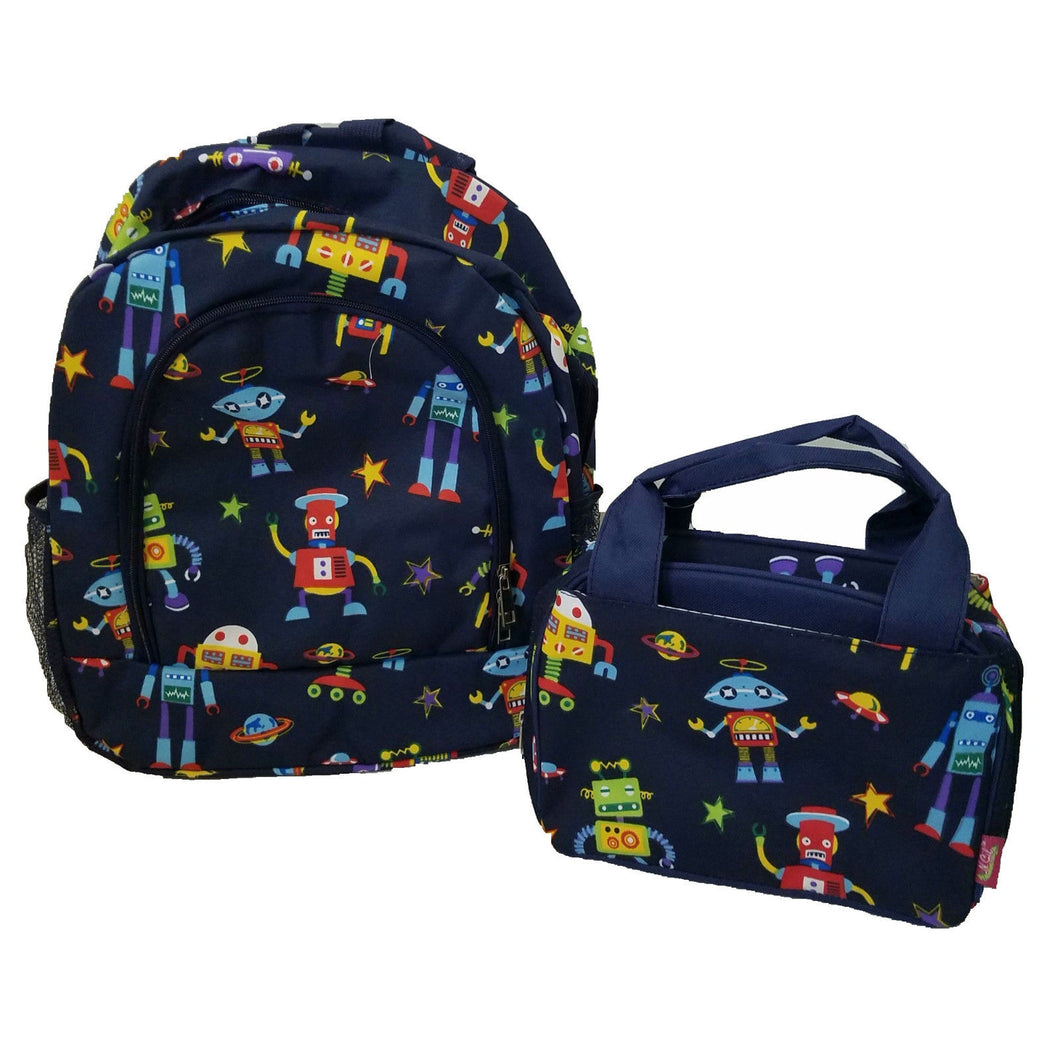 Robot Planet Outer Space Ship Stars School Boys Backpack Lunch Box Bag Set Navy