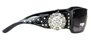 Montana West Rhinestone Round Concho Western Womens Sunglasses Case Black Brown