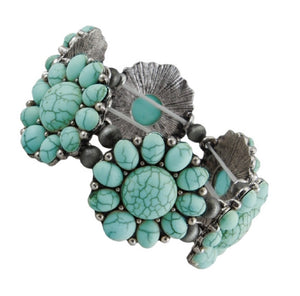 Squash Blossom Flower Aztec Western Cowgirl Stretch Bracelet Turquoise Blue