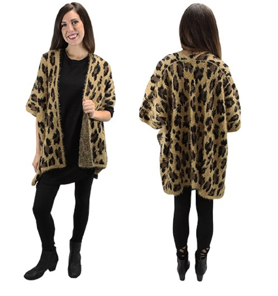 ... Sunshine   Rodeos Cheetah Leopard Print Womens Ladies Winter Fall Open  Vest Top Black White Brown ... 62599517c