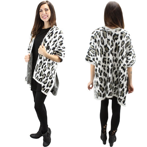 Sunshine & Rodeos Cheetah Leopard Print Womens Ladies Winter Fall Open Vest Top Black White Brown